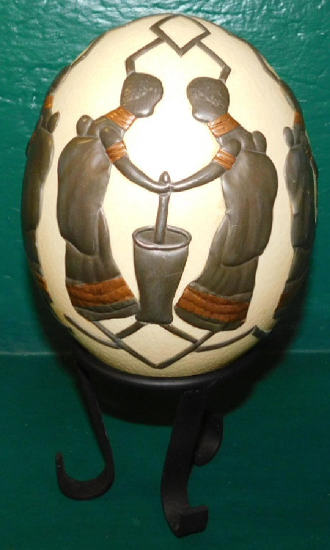 Decorated Ostrich Egg On Stand