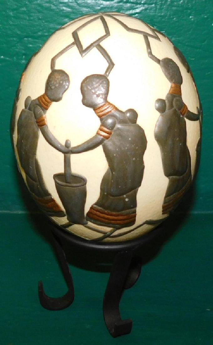 Decorated Ostrich Egg On Stand - 2