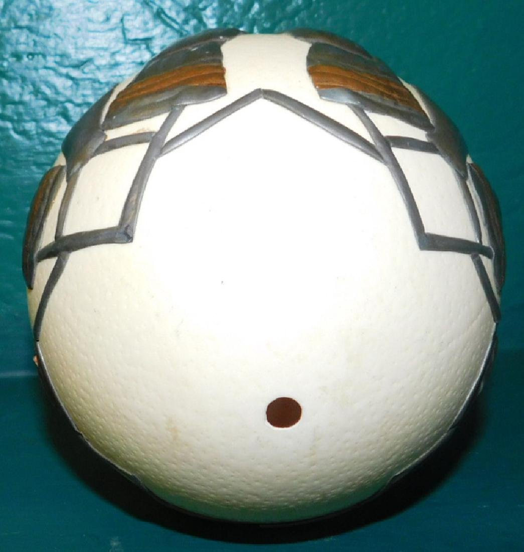 Decorated Ostrich Egg On Stand - 3