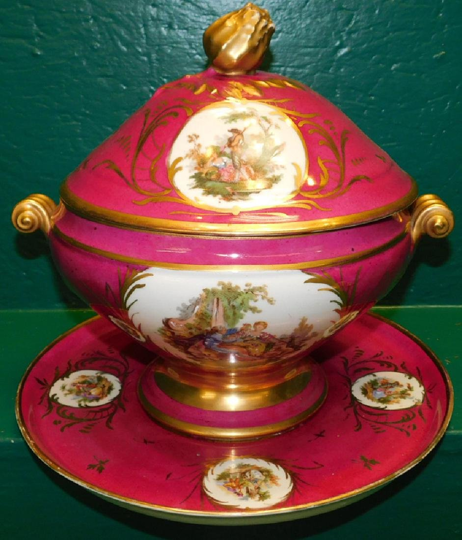 Sevres Covered Tureen With Underplate, Restored