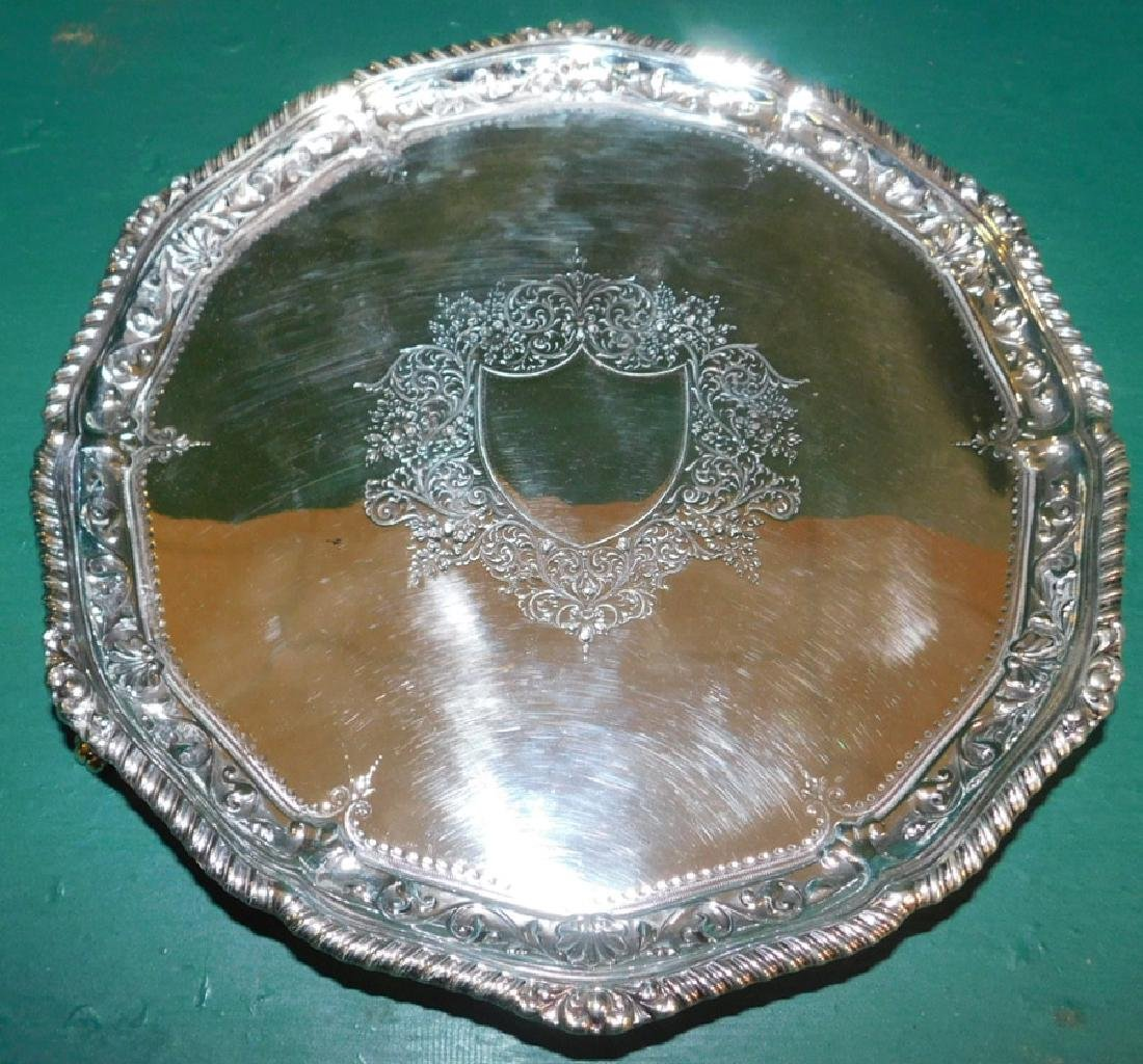 London 1890 Sterling Footed Salver 19.21 Troy oz.