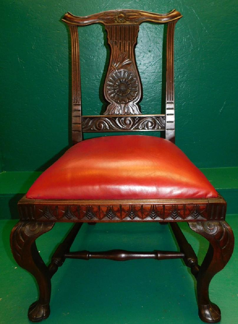 Carved Mahogany QA Leather Seat Side Chair