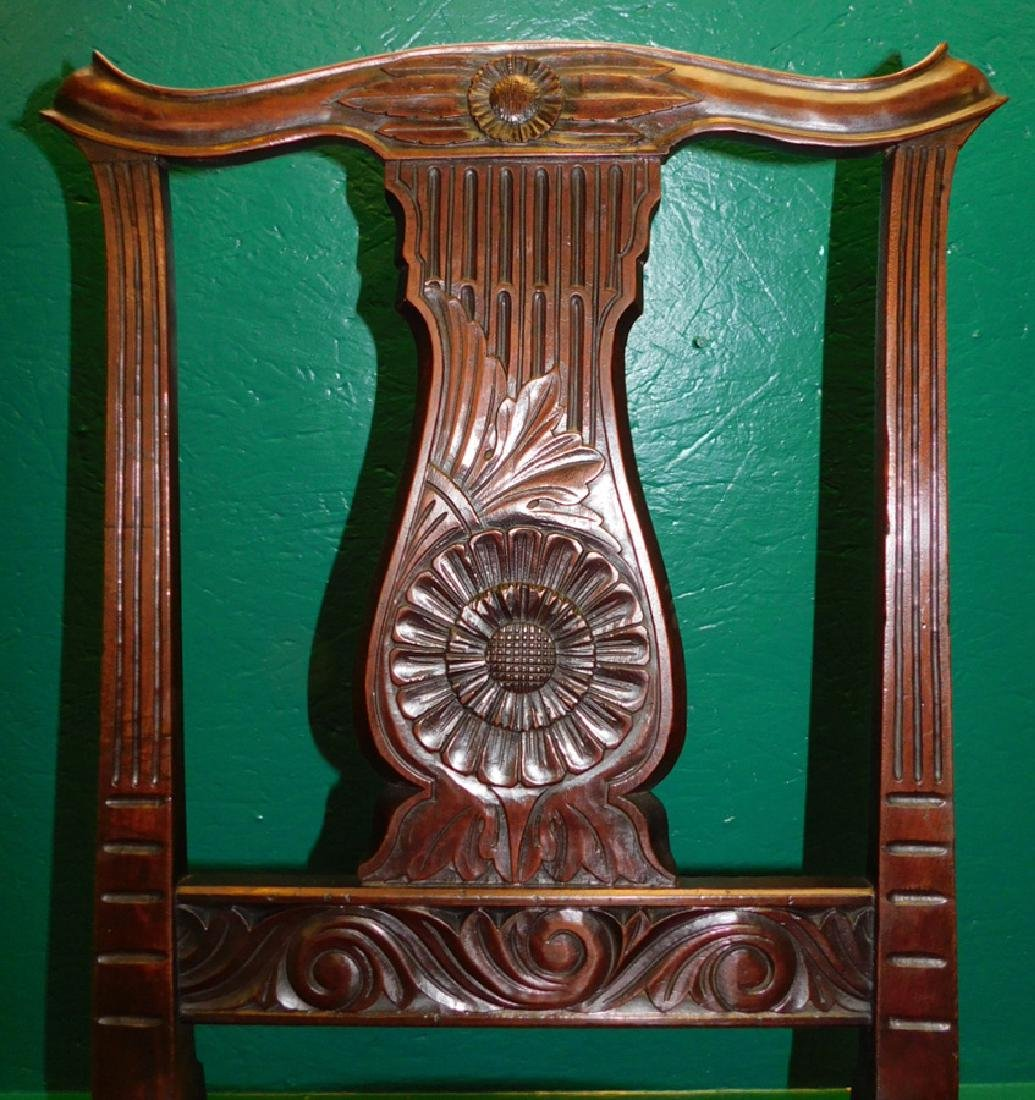 Carved Mahogany QA Leather Seat Side Chair - 2
