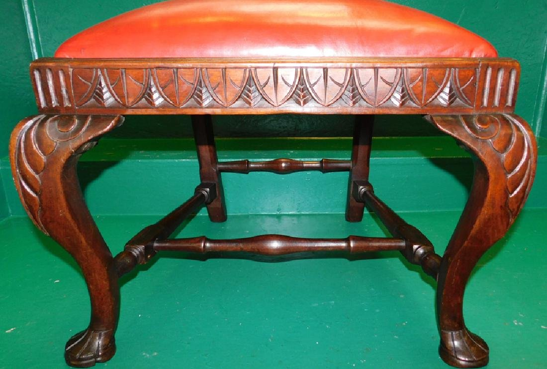 Carved Mahogany QA Leather Seat Side Chair - 3