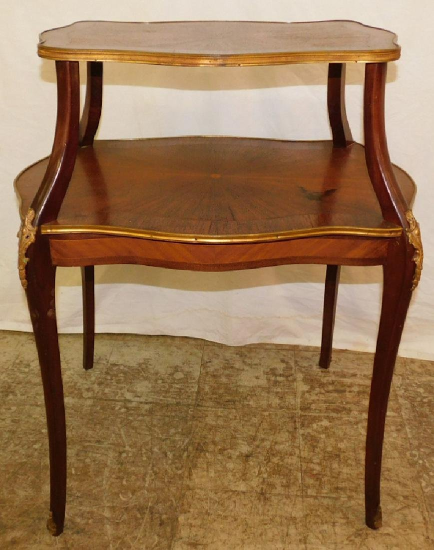 Brass Bound French Two Tier Table