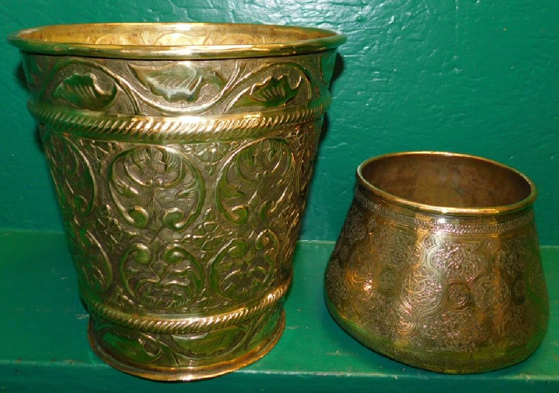 Two Brass Jardinieres One Is Embossed