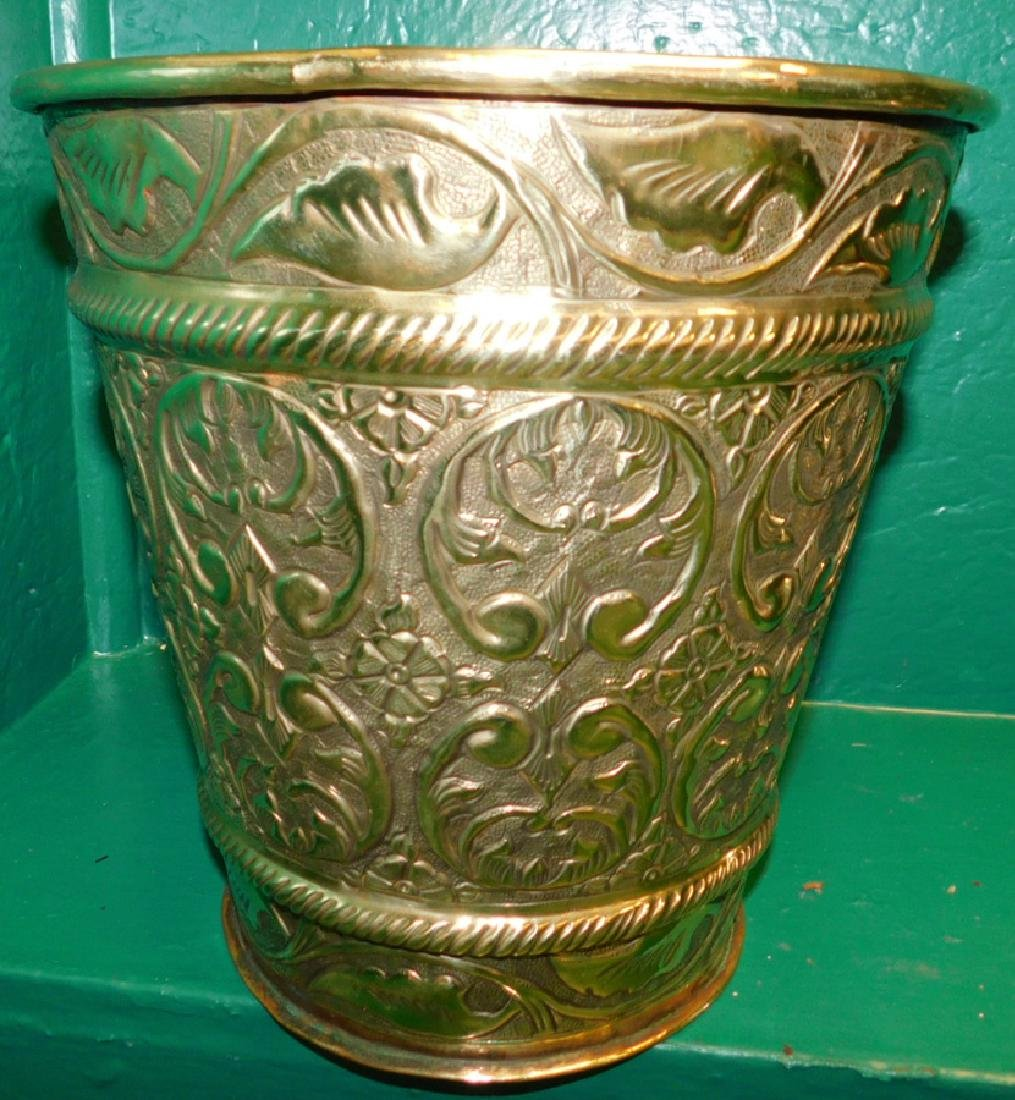 Two Brass Jardinieres One Is Embossed - 3
