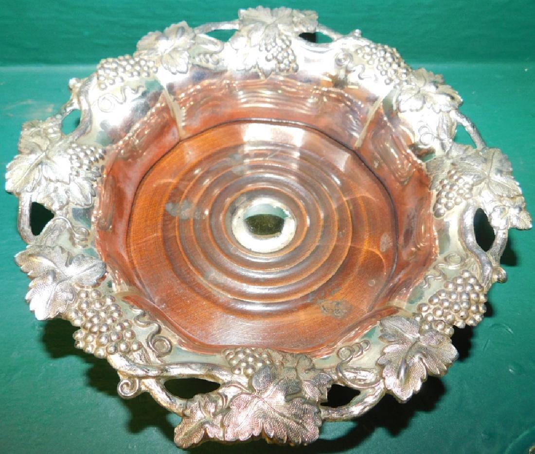 Five  Silverplate Wine Coasters - 2