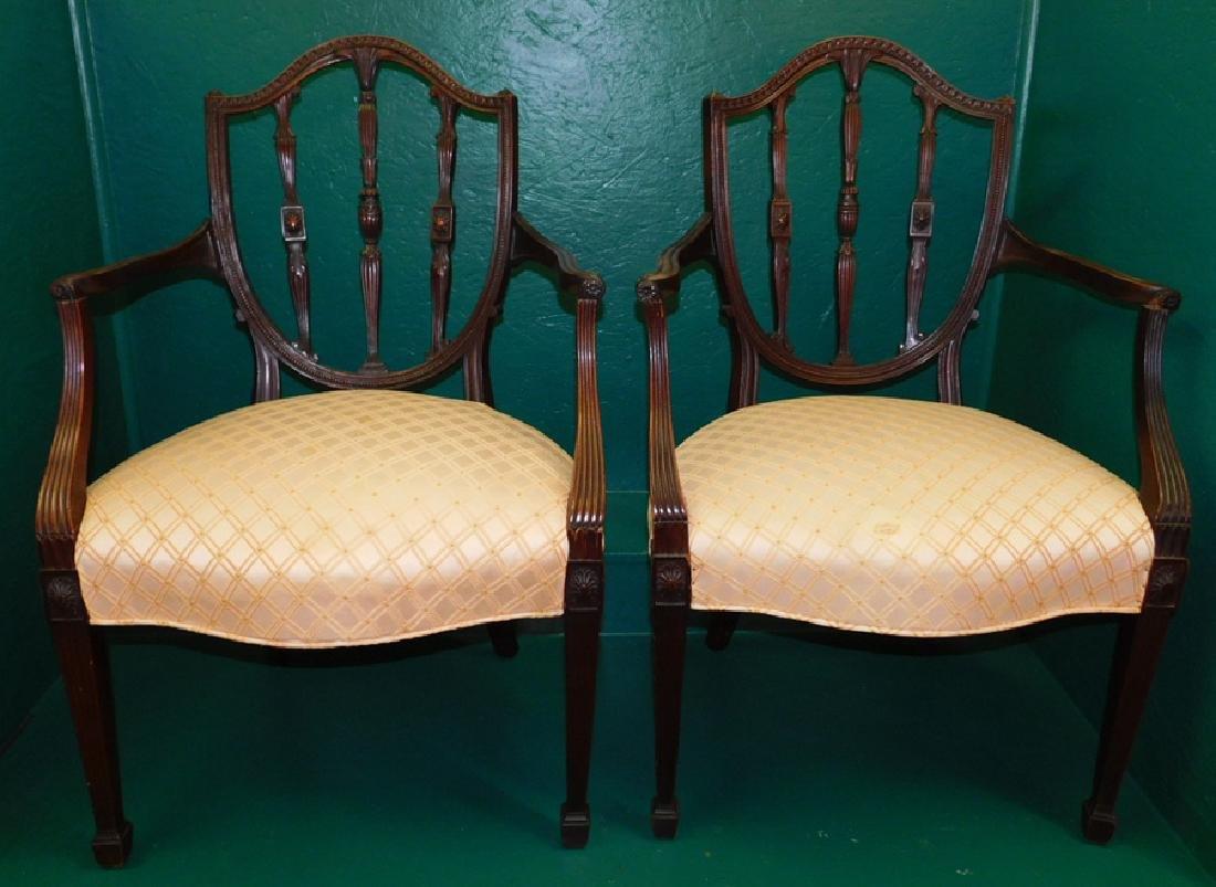 Pair Shield Back Mahogany Hepplewhite Arm Chairs