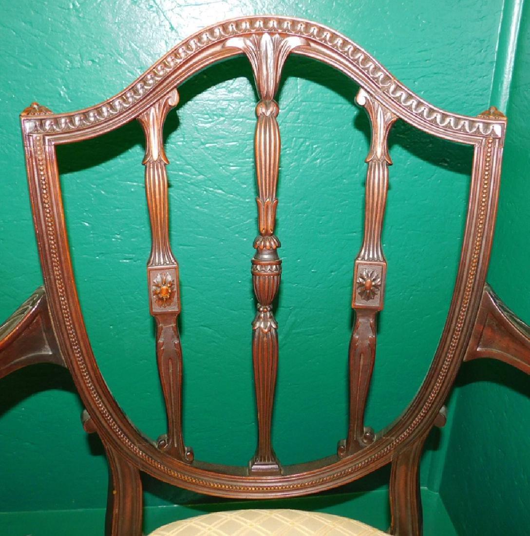 Pair Shield Back Mahogany Hepplewhite Arm Chairs - 2