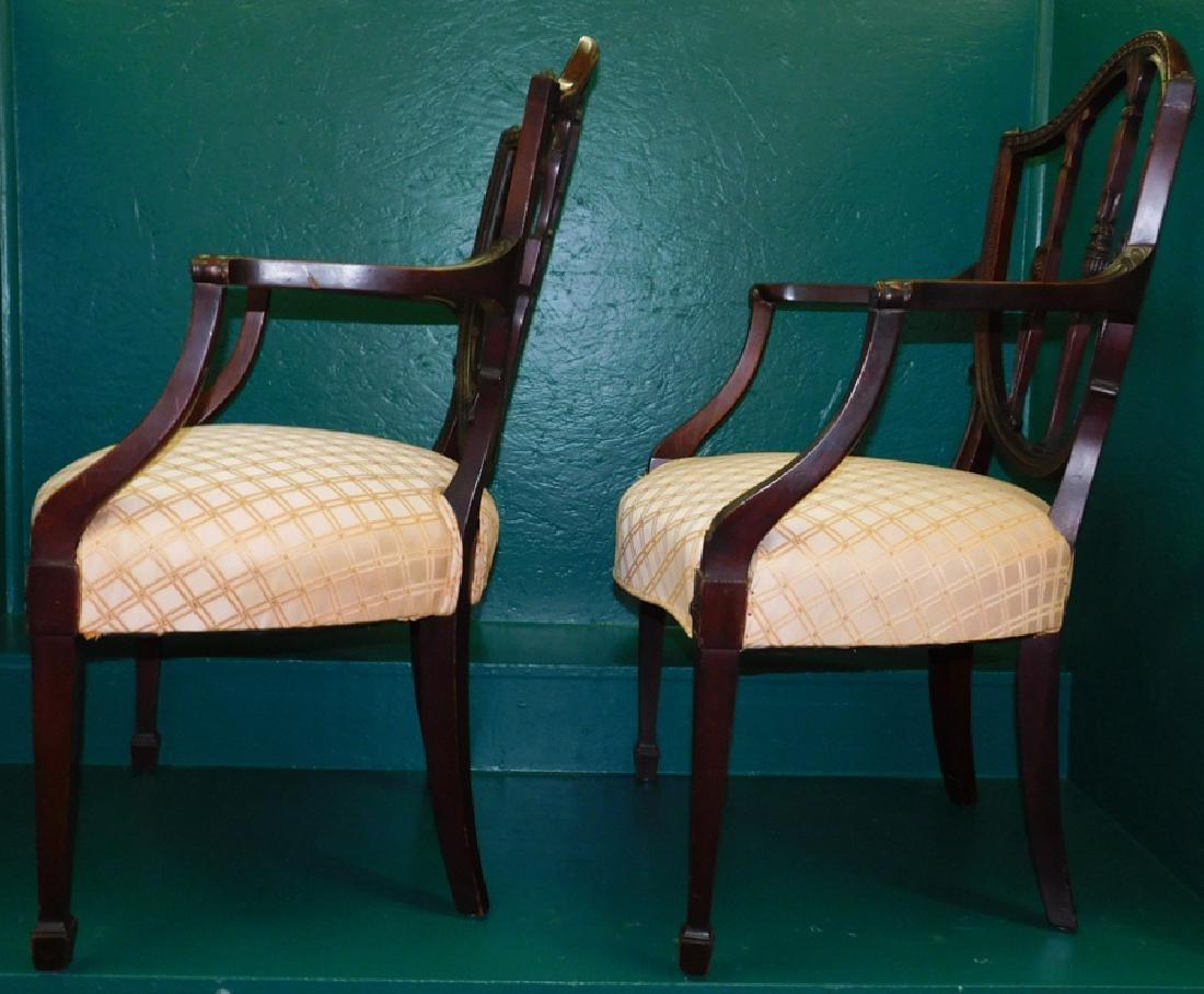 Pair Shield Back Mahogany Hepplewhite Arm Chairs - 4