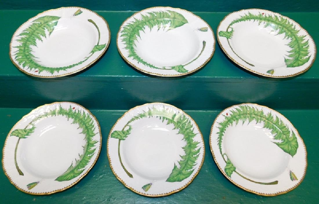 6 Anna Weatherly Green Leaf Soup Bowls