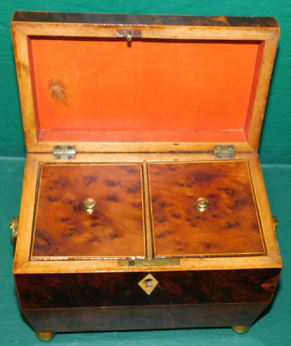 Burl Yew Wood Tea Caddy With Fitted Interior - 3