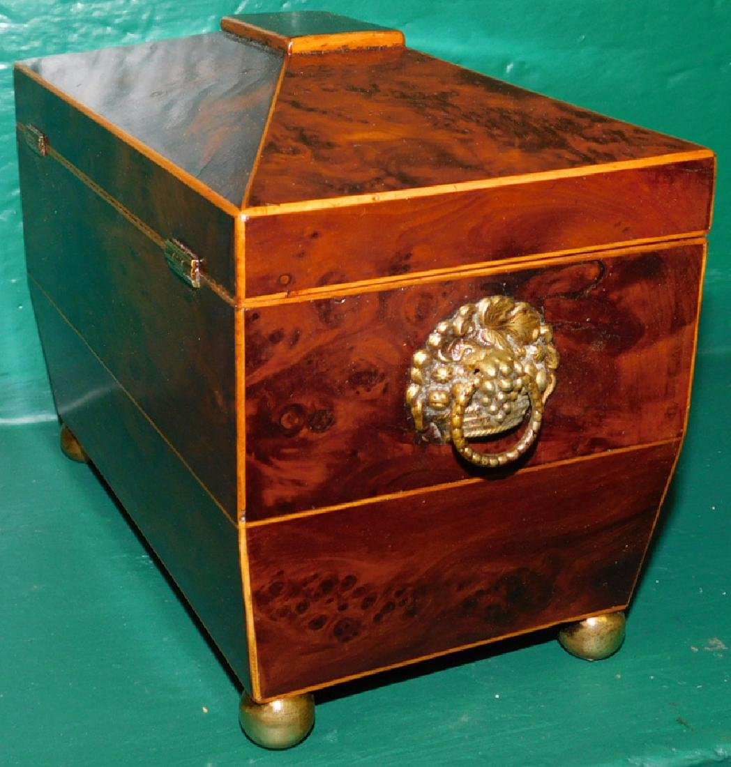 Burl Yew Wood Tea Caddy With Fitted Interior - 4