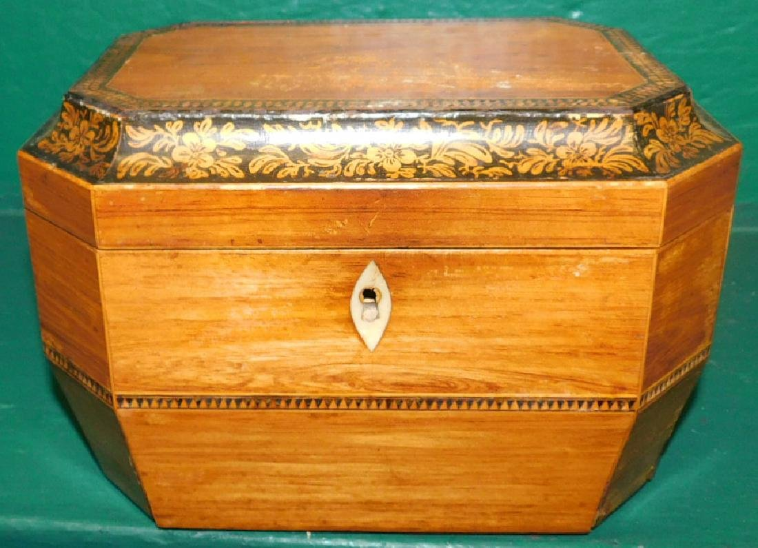 Rosewood Octagonal Tea Caddy w/ Fitted Interior