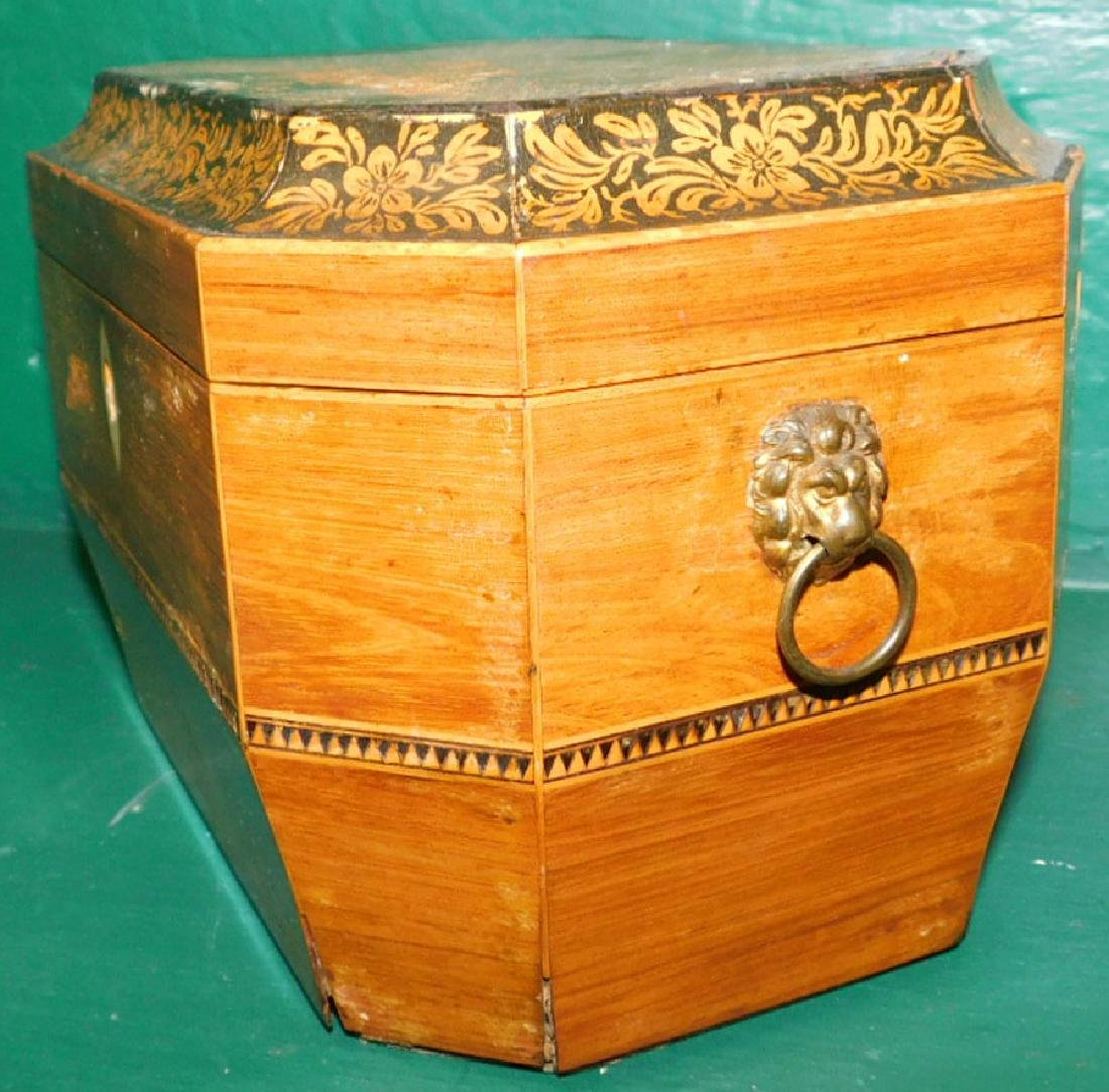 Rosewood Octagonal Tea Caddy w/ Fitted Interior - 3