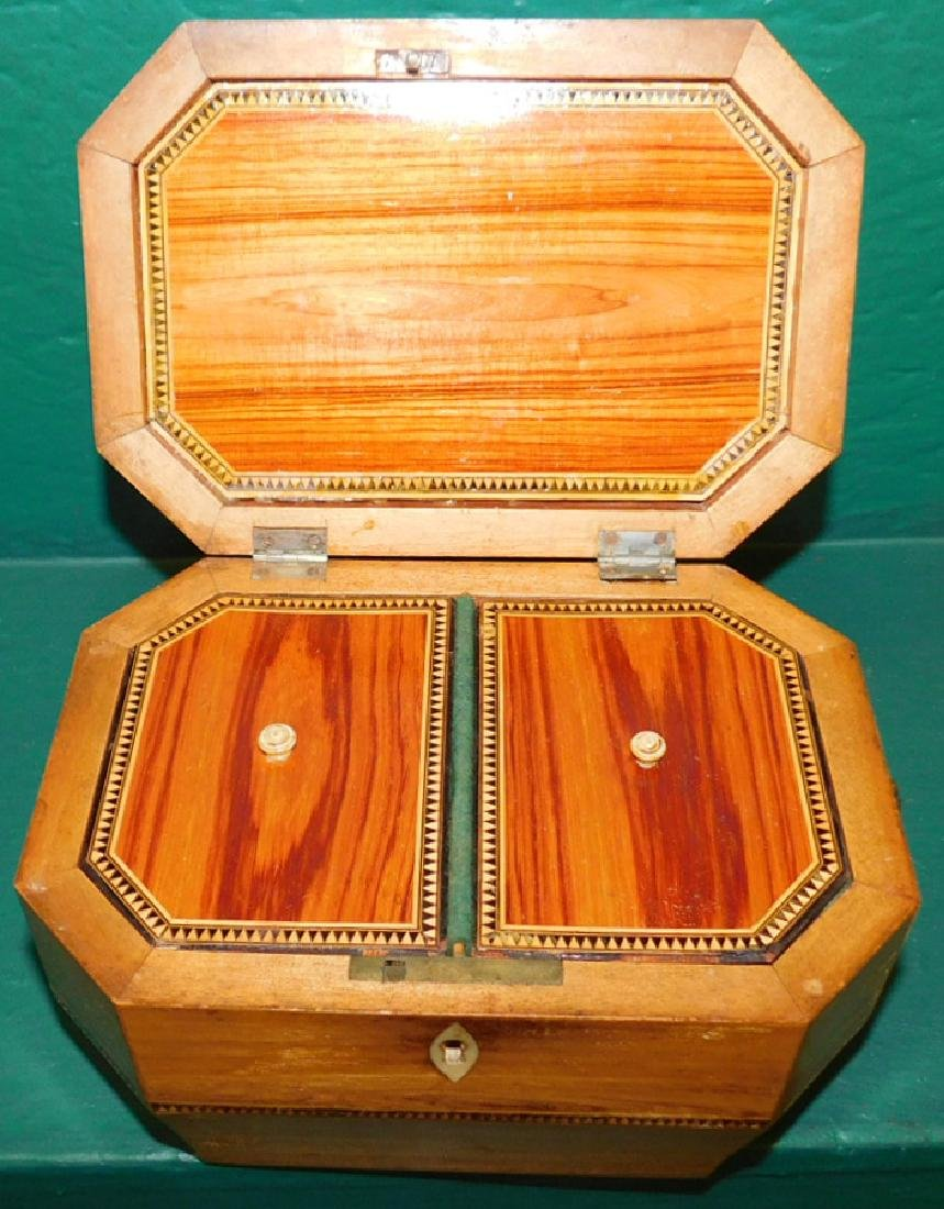 Rosewood Octagonal Tea Caddy w/ Fitted Interior - 4