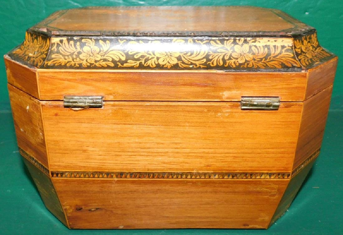 Rosewood Octagonal Tea Caddy w/ Fitted Interior - 5