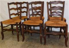 6 Ladderback Country French Rush Bottom Chairs