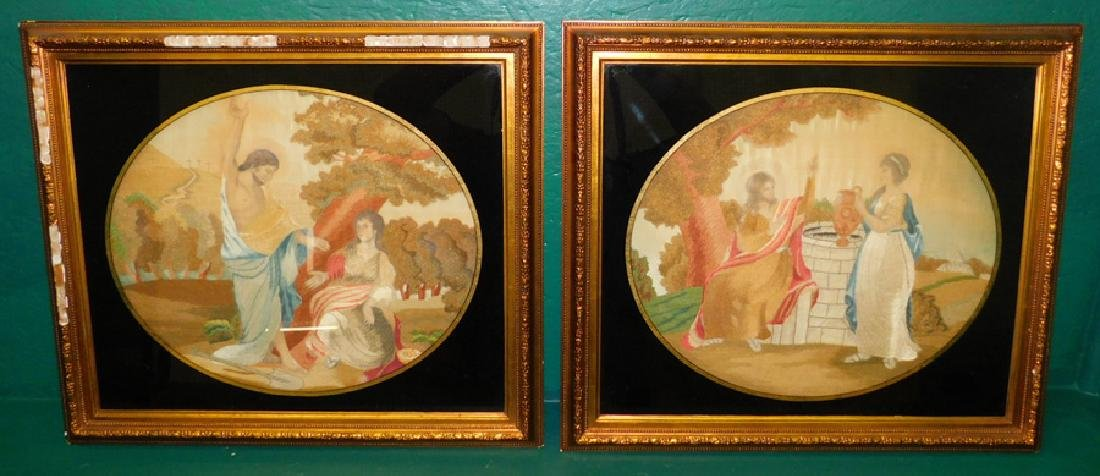 Pair Framed Embroidered On Silk  Grecian Scenes
