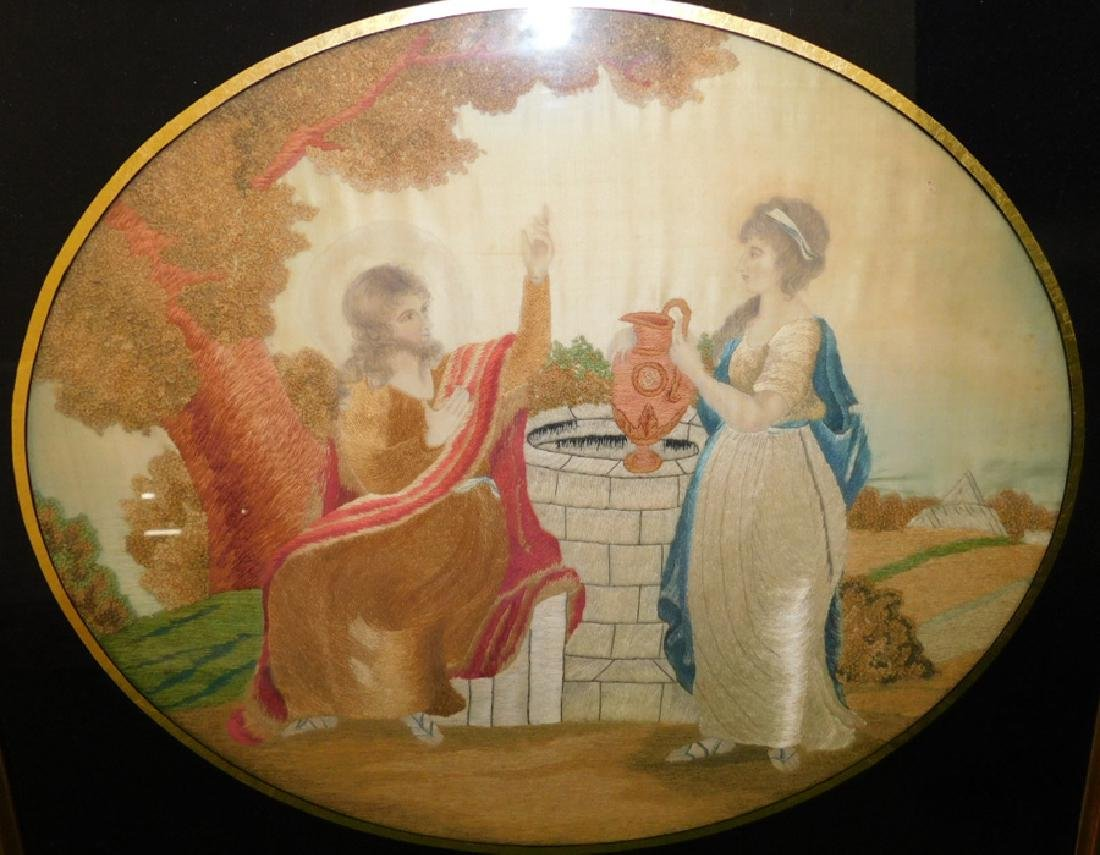 Pair Framed Embroidered On Silk  Grecian Scenes - 2