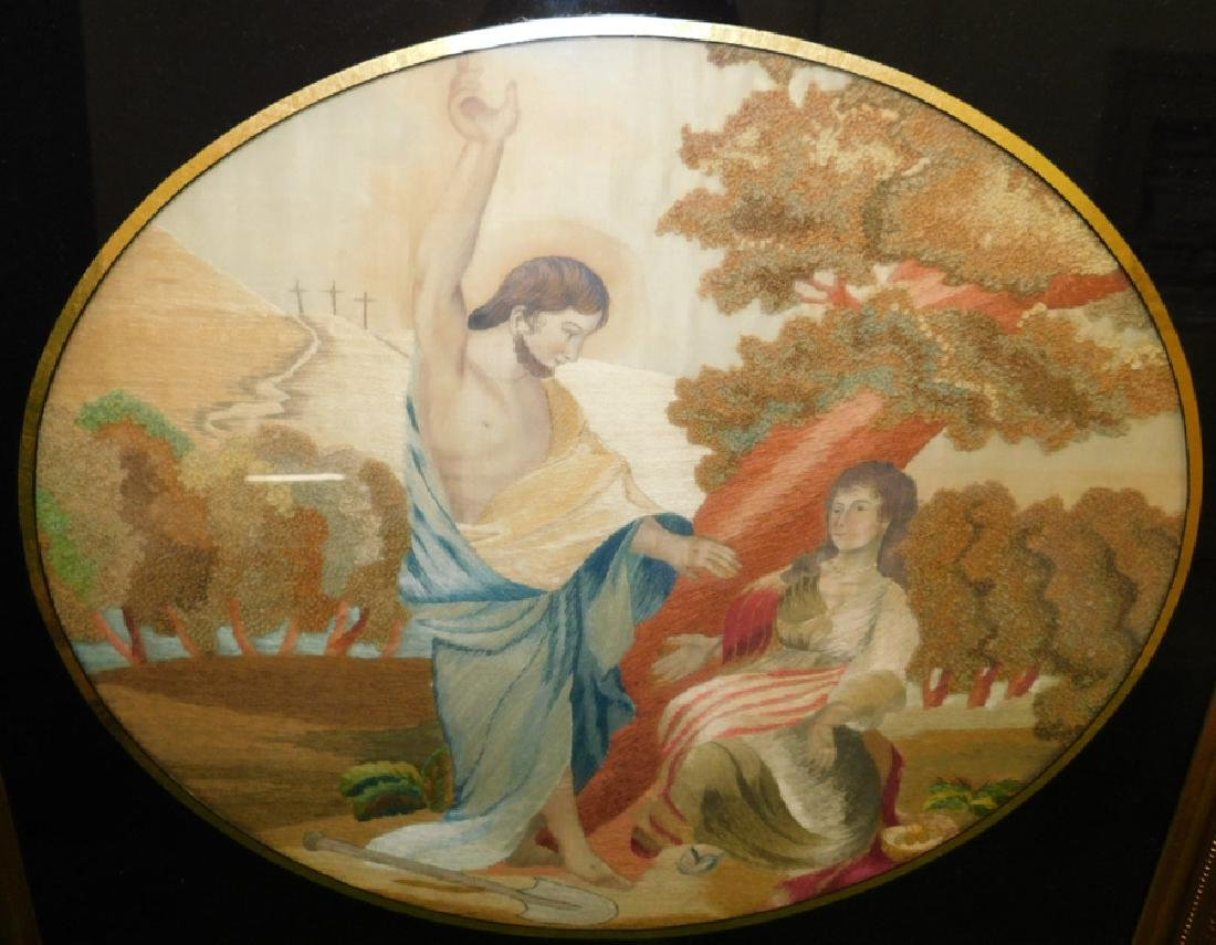 Pair Framed Embroidered On Silk  Grecian Scenes - 3