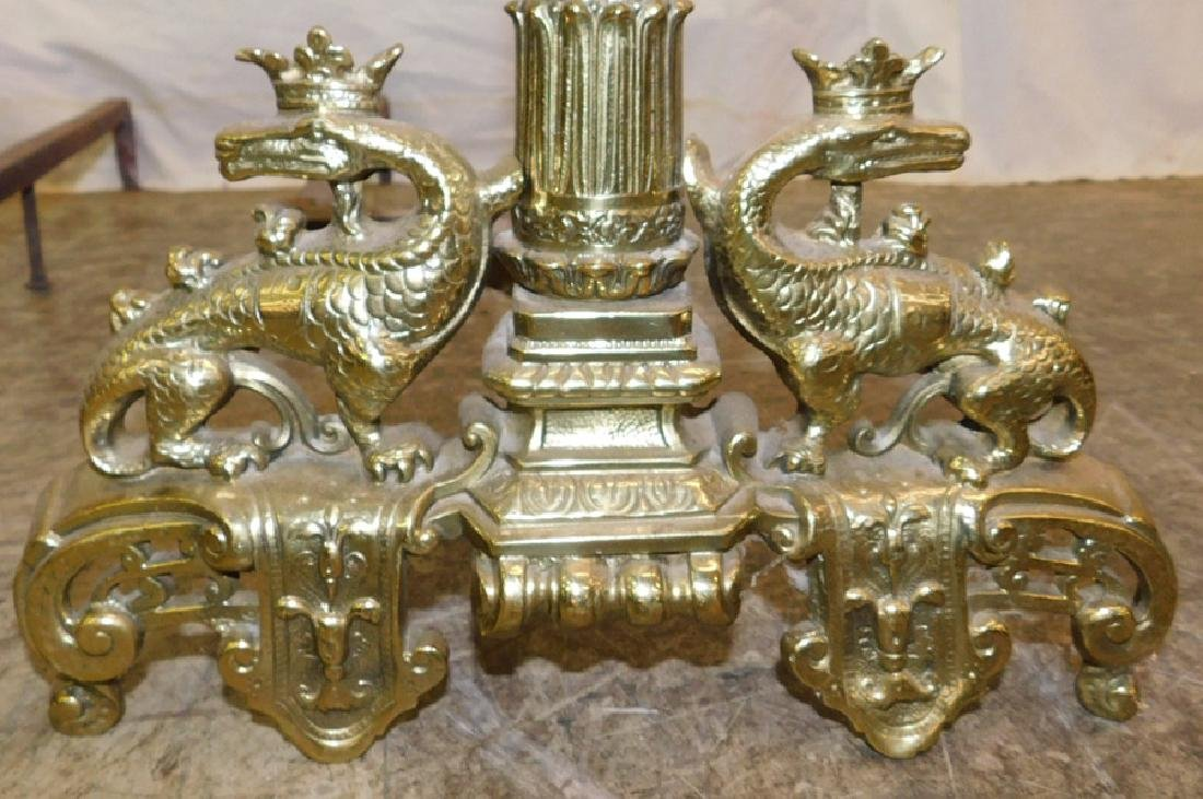Pair 19th C Brass French Andirons - 2