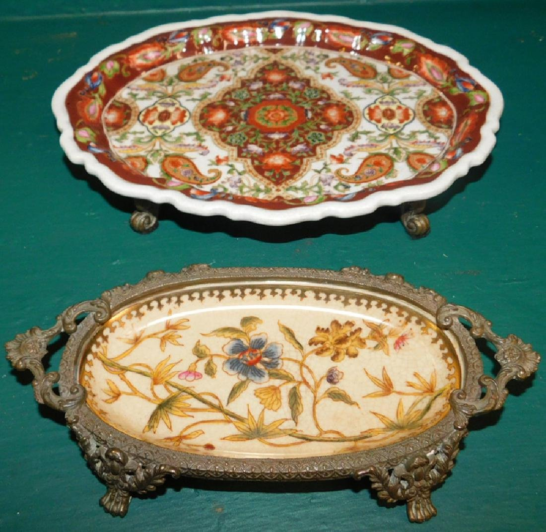 Two Bronze &  Porcelain Trays