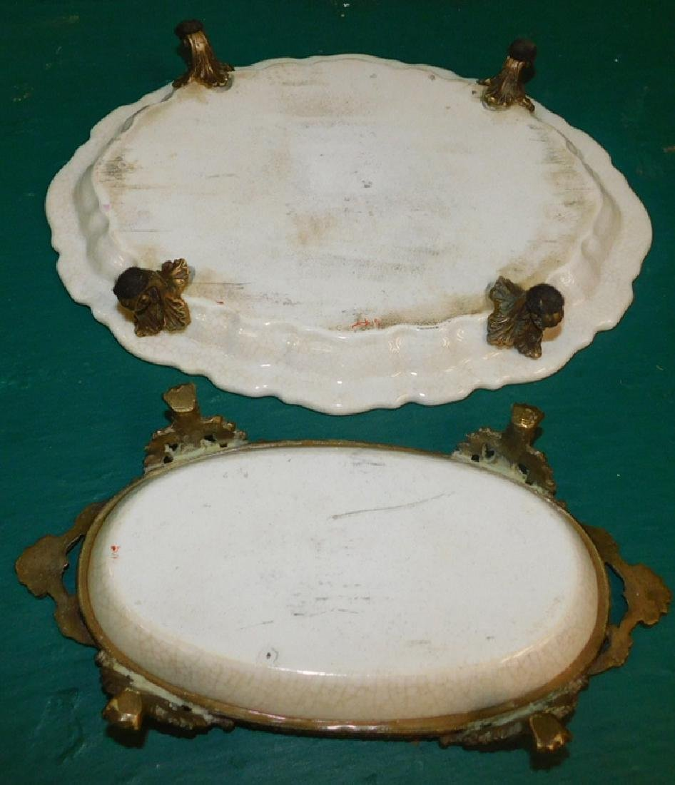 Two Bronze &  Porcelain Trays - 2