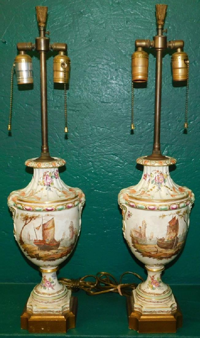 Pair French Porcelain Handpainted Lamps
