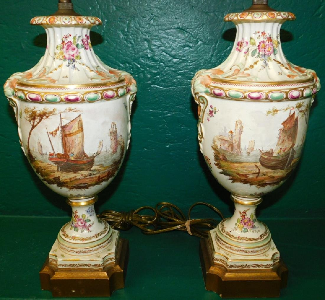 Pair French Porcelain Handpainted Lamps - 2