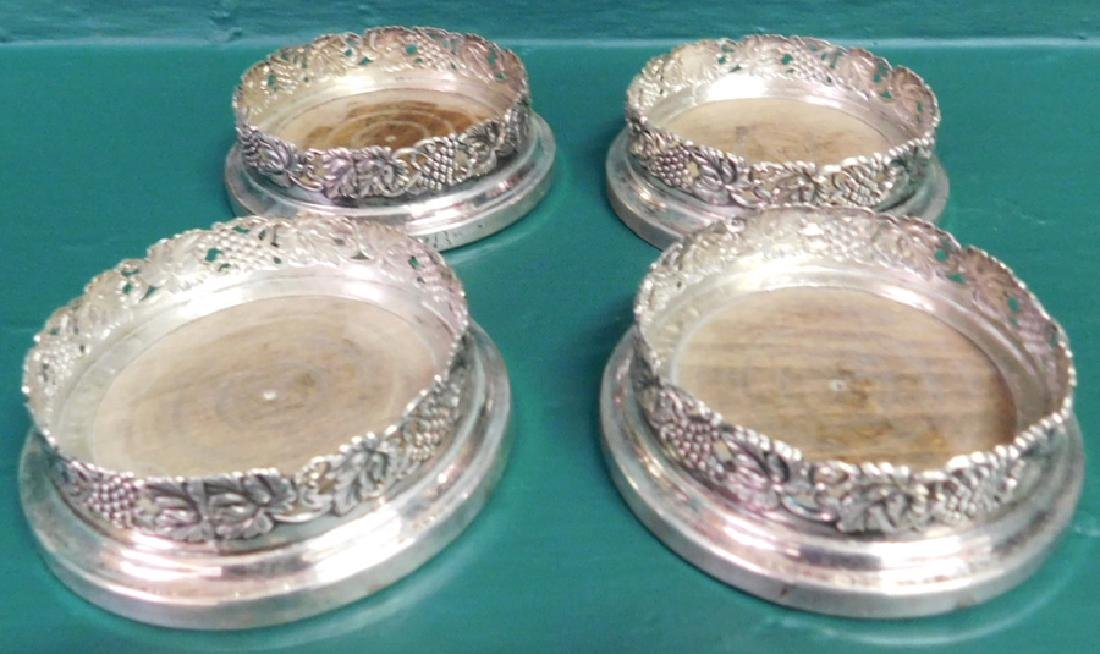 Four Sheffield Silverplated Coasters