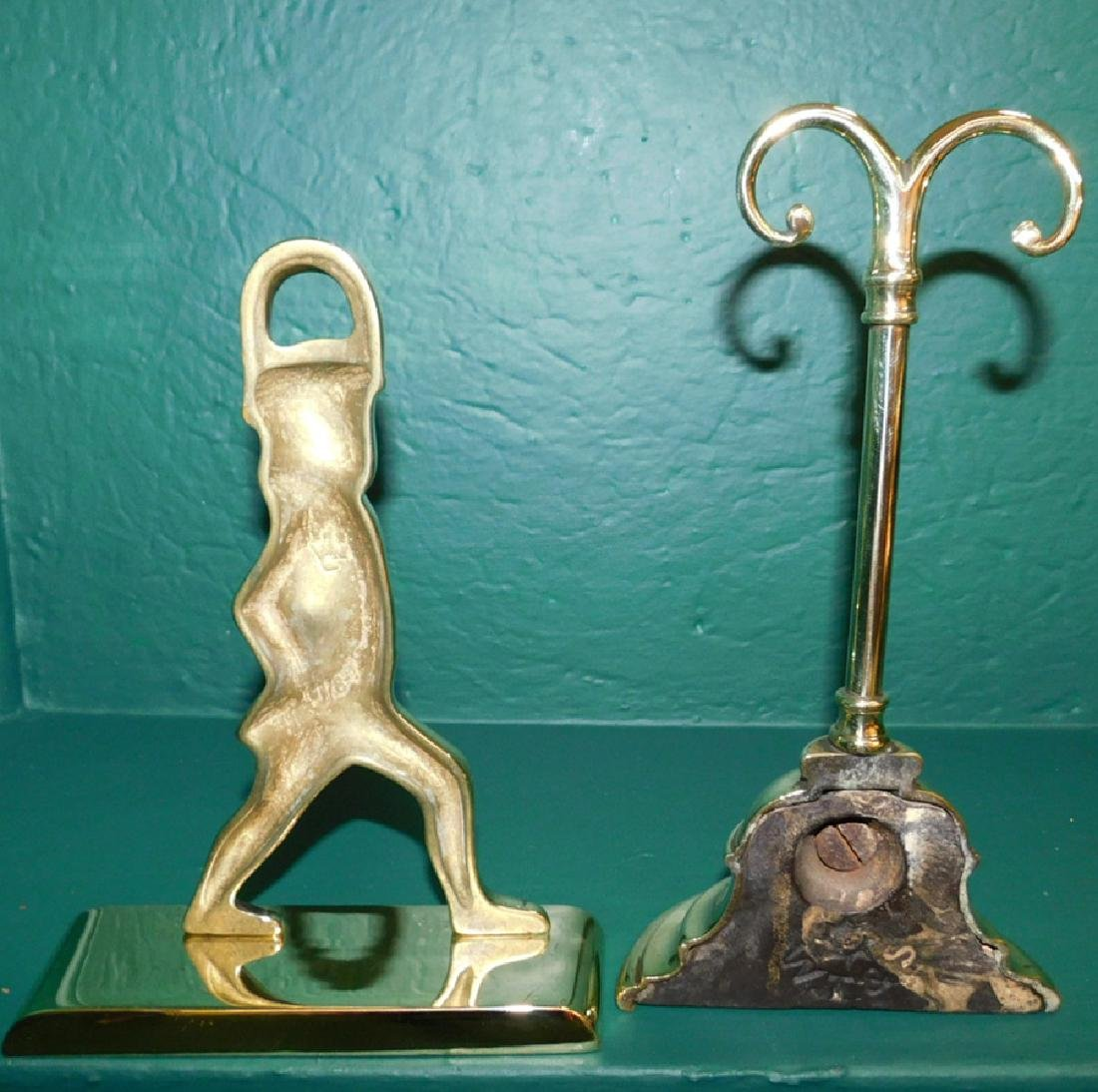 Two Polished Brass Doorstops - 2