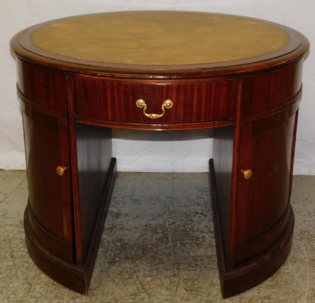 Mahogany Leather Top Drum Desk