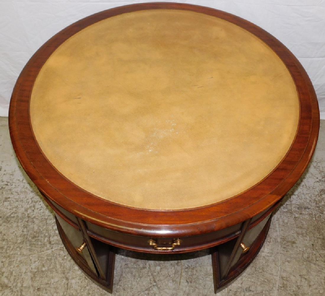 Mahogany Leather Top Drum Desk - 2
