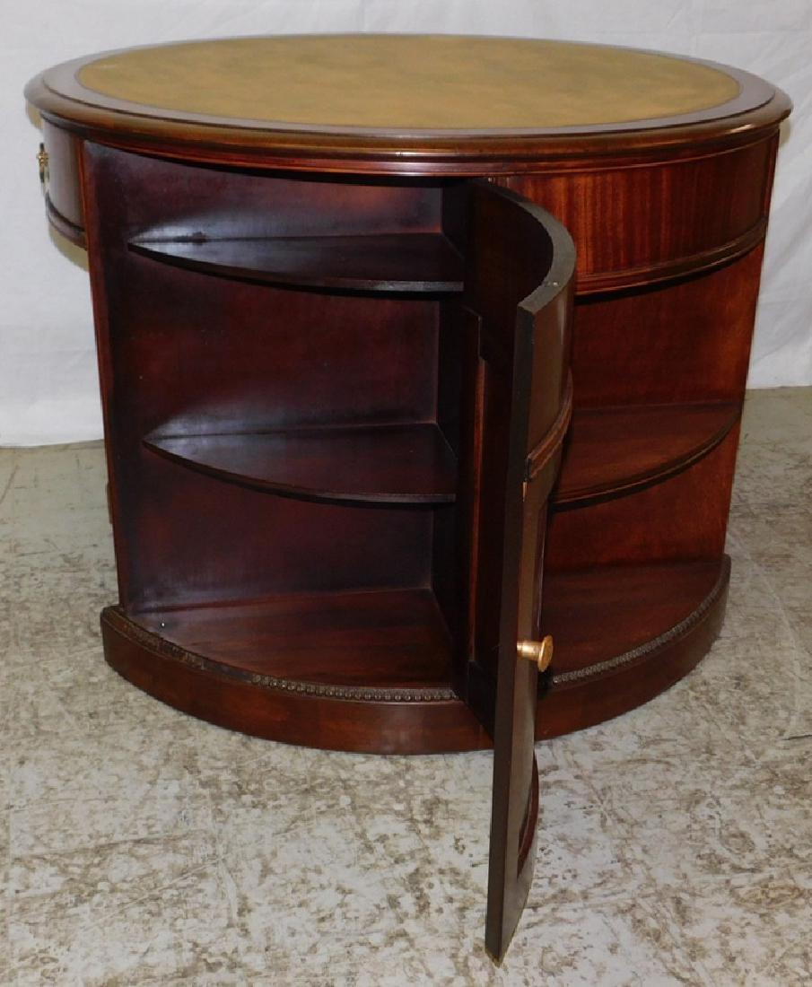 Mahogany Leather Top Drum Desk - 4