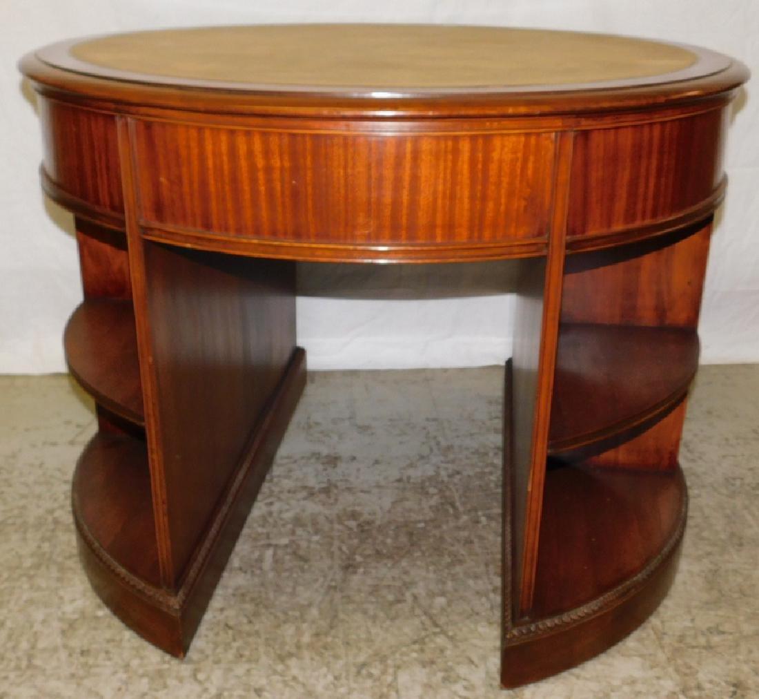 Mahogany Leather Top Drum Desk - 5