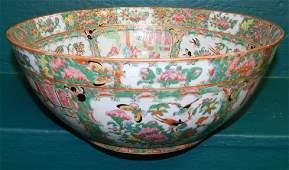18th C Rose Medallion Punch Bowl