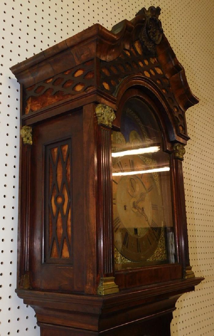 Brass Face Walnut Grandfather Clock - 4