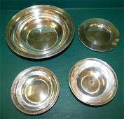 Four Sterling Bowls 19.84 Troy Oz