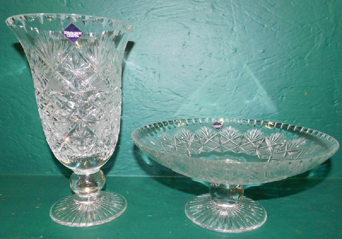 Edinburgh Cut glass Vase & Compote