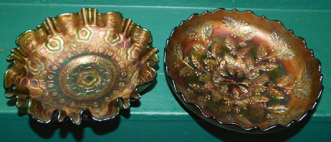Collection Two Amber Carnival Glass Bowls - 2