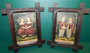 Pair Cross Framed Currier & Ives Prints