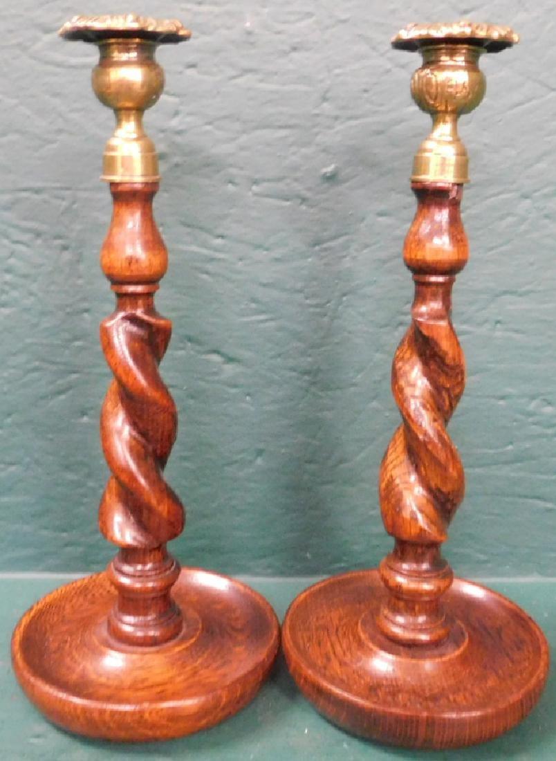 Pair of oak barley twist candlesticks