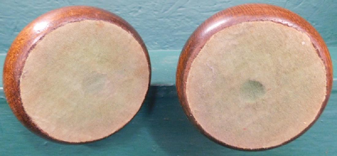 Pair of oak barley twist candlesticks - 4