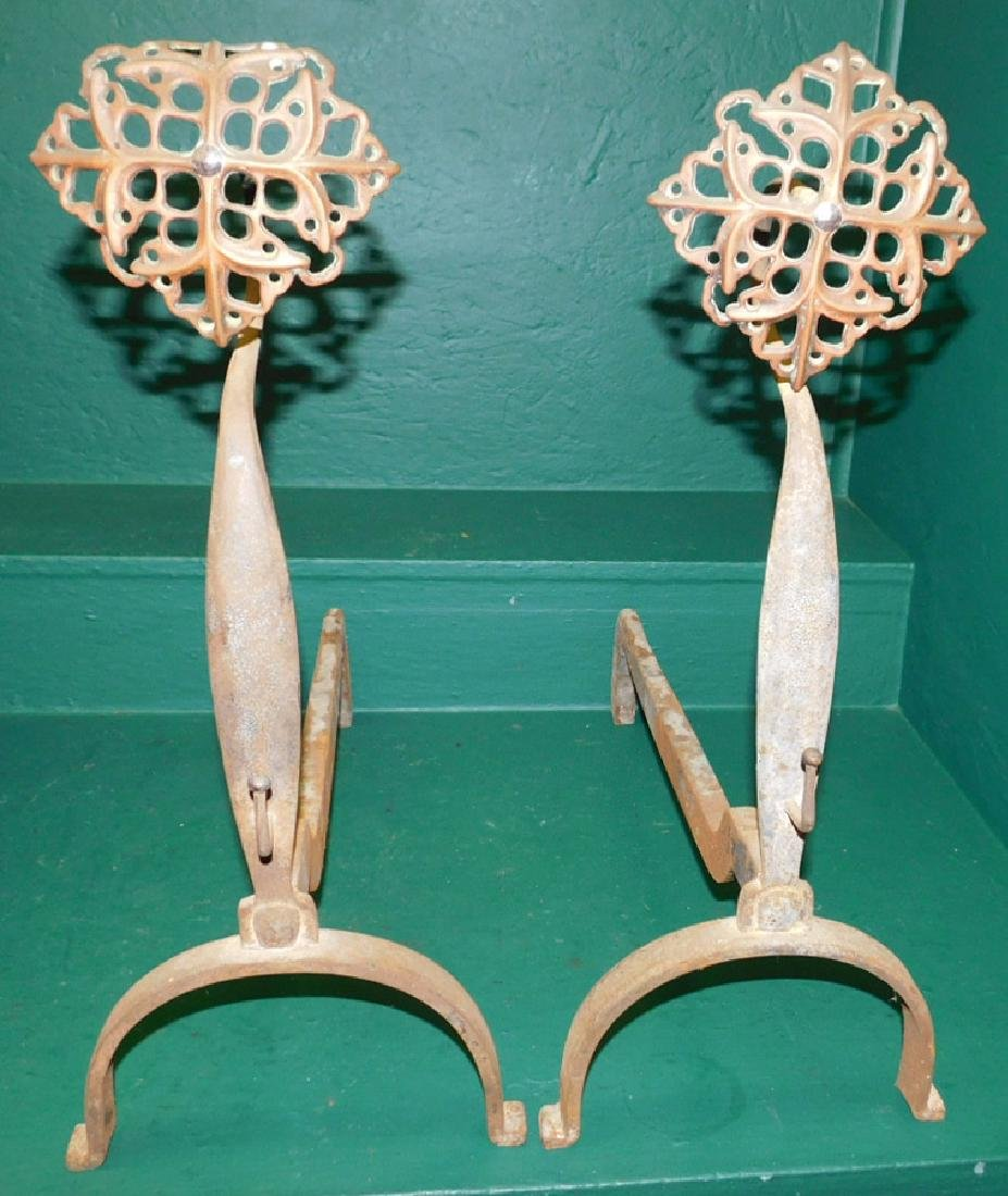 Pair of cast iron floral top andirons