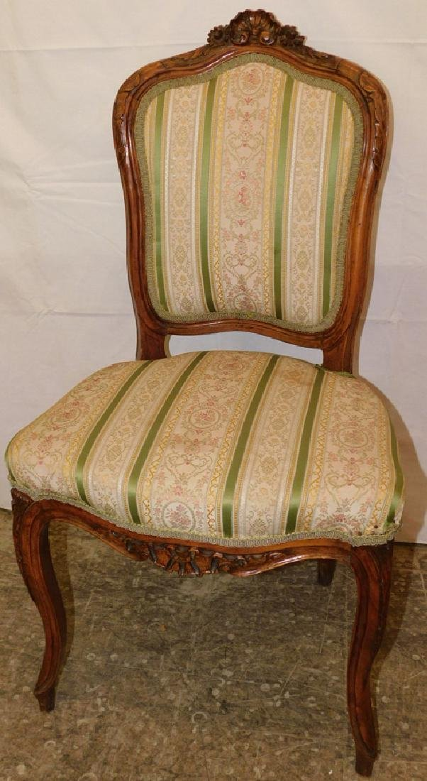 French carved upholstered side chair