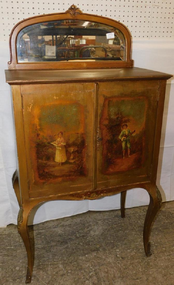 Paint decorated French music cabinet