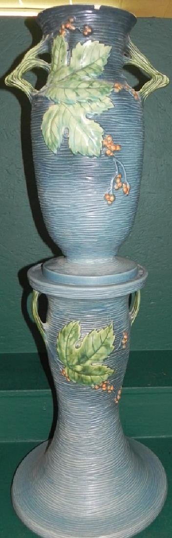 Roseville Bushberry floor vase and pedestal