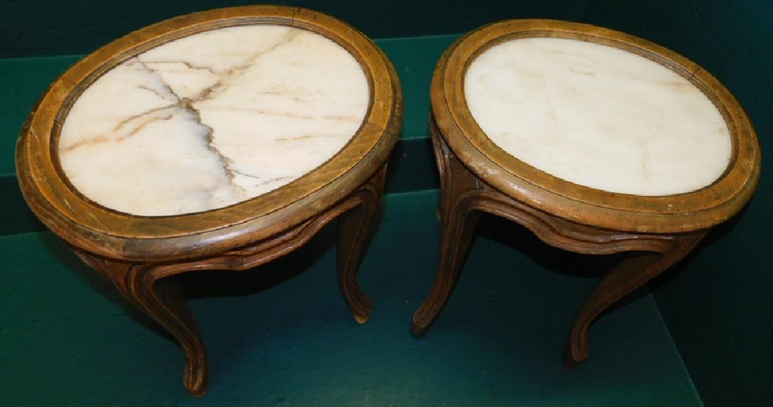 Pair of French oval marble top stands - 2
